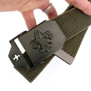 MEN's Green Fleur De Lis Adjustable Waist Belt M/L